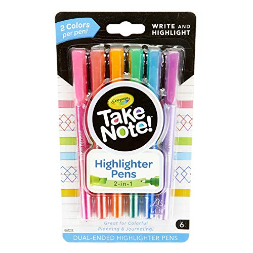 Crayola Take Note Dual Tip Highlighter Pens, Assorted Colors, College School Supplies for Students, 6 Count
