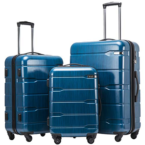 Coolife Luggage Expandable 3 Piece Sets PC+ABS Spinner Suitcase 20 inch 24 inch 28 inch (Caribbean Blue new)