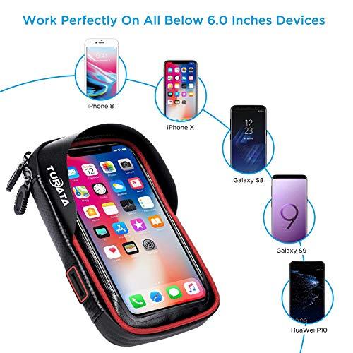 TURATA Fahrrad Lenkertasche Wasserdicht Rahmentaschen Multifunktional Motorrad Handyhalterung für 6″ Handy, Personalausweis, Bankkarte, Kopfhörer -Rot - 2