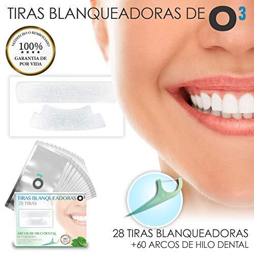 O³ Blanqueador Dental - Tiras Blanqueadoras Dientes 28 Piezas + Arcos Hilo Dental | Tratamiento Para Dientes Blancos 14 Días Con Bandas Blanqueadoras