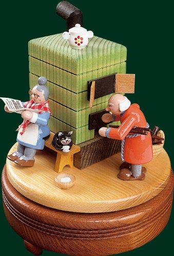 Spieluhr Richard Glässer Spieldose Feierabend mit Rauchofen, 18er Spielwerk, 08521