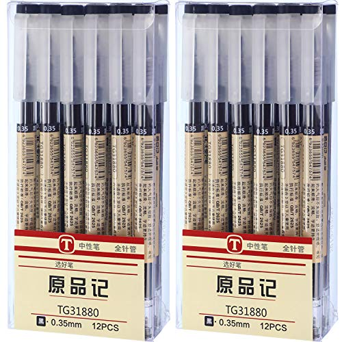 0.35 mm Black Gel Ink Pen Extra-Fine Ballpoint Pen for Office School Stationery Supply (24 Pieces)