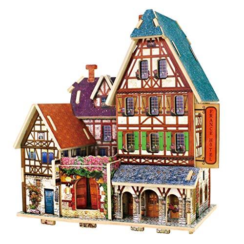 RecontraMago Puzzle 3D - Colección Casas y Edificios del Mundo - Rompecabezas de Madera- Juguetes para niños y Adultos (Hotel Frances)