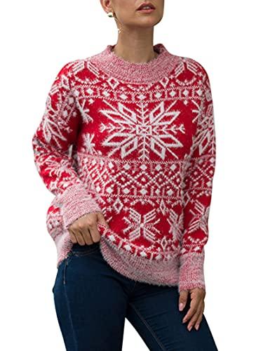 Cárdigan de Navidad para mujer, casual, manga larga, estampado de ciervos, moda suelta, botón de punto, abrigo, Outwear, D-rojo, XL