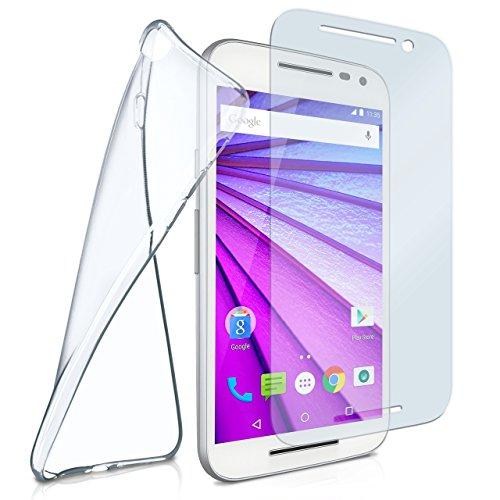 Silikon-Hülle für Motorola Moto G3 | + Panzerglas Set [360 Grad] Glas Schutz-Folie mit Back-Cover Transparent Handy-Hülle Motorola Moto G 3. Generation Hülle Slim Schutzhülle Panzerfolie