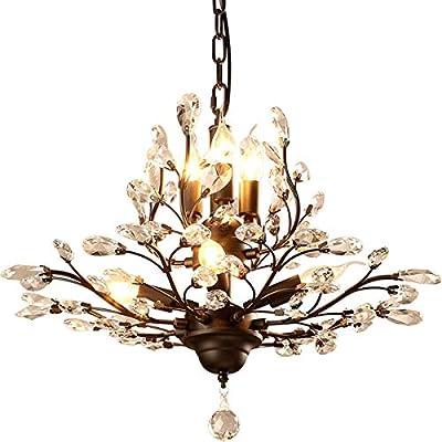 Ganeed Crystal Chandeliers,Vintage 7 Lights Pendant Light,K9 Clear Crystal Chandelier Lighting Fixtures,Ceiling Light for Living Room Bedroom Restaurant Porch Dinner Room(Black)