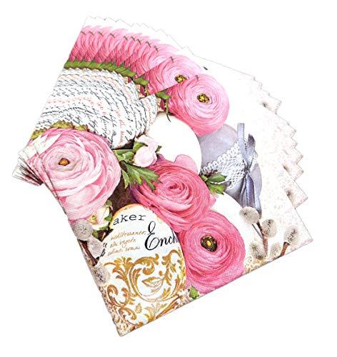 artwelten Papierservietten für Ostern 40 Stk – 3-lagige Osterservietten – Pinke Blumen Tischdeko – Serviettentechnik Ostern
