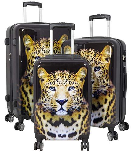 Kofferset Gepäckset Polycarbonat ABS Hartschalen Koffer 3tlg. Set Trolley Reisekoffer Reisetrolley Handgepäck Boardcase PM (Leopard)