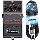 Boss MT-2w Metal Zone Waza Edition - Pedal de distorsión y cable para guitarra keepdrum (3 m)