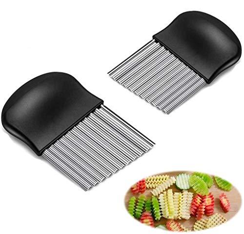 BTkviseQat Gemüsehobel Edelstahl Wellenschneider, Kartoffelschneider zum Schneiden von Kartoffeln, Süßkartoffeln und Obst oder Gemüse 2er Set