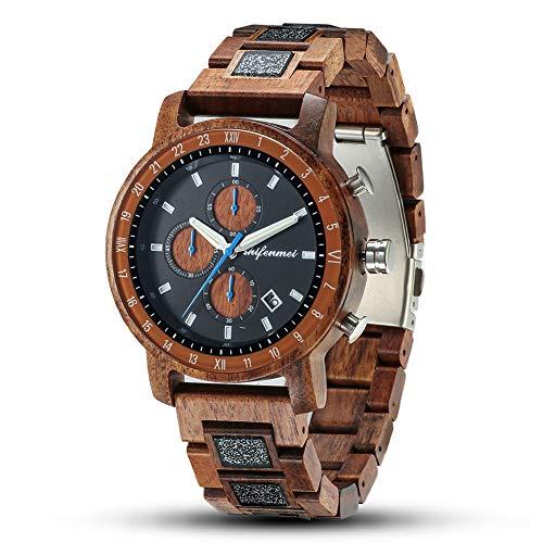 Holzuhr Herren, shifenmei Holzuhren für Männer Handgemachte Multifunktions mit Datum Kalender und Leuchtendem Zeiger Klassik Leichte Holz-Armbanduhr (Acacia Wood)
