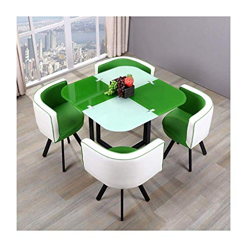 N/Z Daily Equipment Tempered Glass Tables Chairs Modern Home Dining 5 Piece Round Leisure Vintage PU Chair Cushioned Back Cafe Lounge Office Hotel Table and Chair Set (Color : Black)