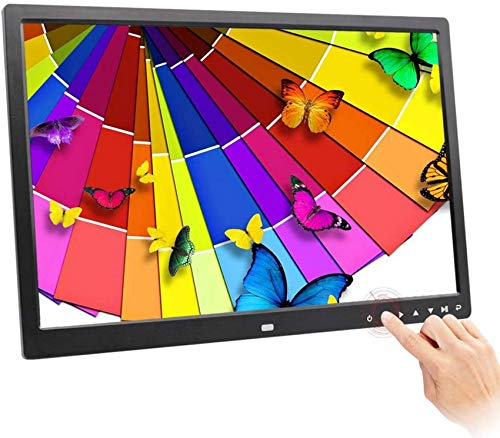 ZHTY Digitaler Fotorahmen, Lithium-Batterie 17-Zoll-HD-LED-Touch-Taste Multifunktions-Werbemaschine Elektronischer Bilderrahmen