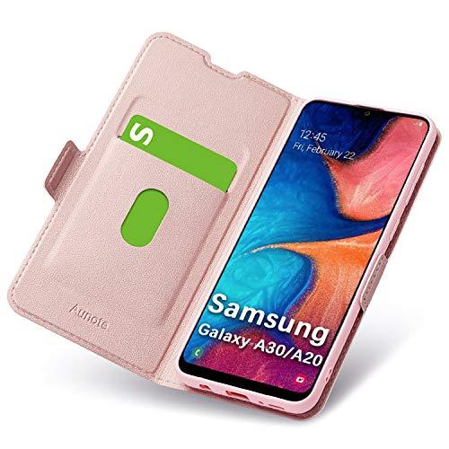 Cover per Samsung Galaxy A30/A20, Flip Custodia Pelle, PU+TPU Silicone Morbida - Completa Protezione. Custodie per Cellulari - Portafoglio Folio con Funzione Supporto e Chiusura Magnetica (Oro Rosa)