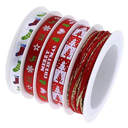 N/C Nastri Natalizi,Nastro Natalizio 5 Stile 25 Metri Christmas Ribbon con Colore Diverso per Decorazione Natale Cucito DIY Rosso e Lino 1 cm 2 cm in Larghezza