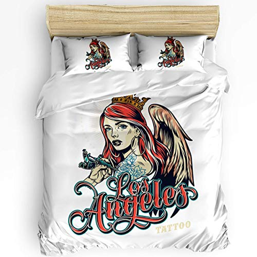 LUCKCHN Duvet Cover Set, Cool Girl with Wings Microfiber Bedding Sets 3 Piece Set Comfortable, Warm Easy to Wash Cover Sets Decorative for Hotel, Home All Season