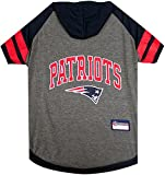 NFL New England Patriots Hoodie for Dogs & Cats.   NFL Football Licensed Dog Hoody Tee Shirt, Large   Sports Hoody T-Shirt for Pets   Licensed Sporty Dog Shirt