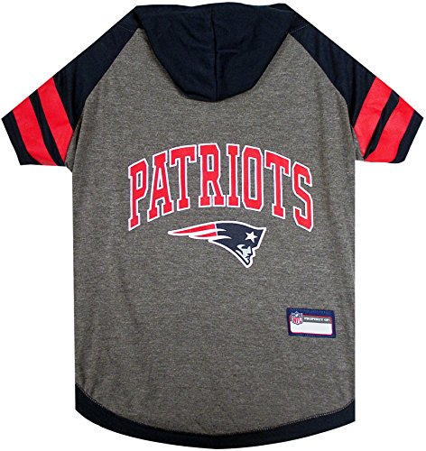 NFL New England Patriots Hoodie for Dogs & Cats. | NFL Football Licensed Dog Hoody Tee Shirt, Small | Sports Hoody T-Shirt for Pets | Licensed Sporty Dog Shirt