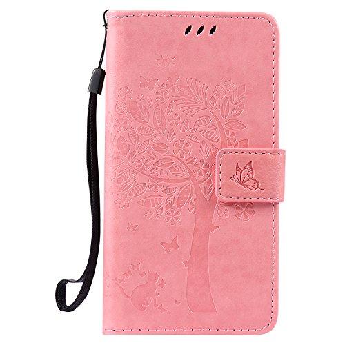 Tosim LG X Power Hülle Leder, Klapphülle mit Kartenfach Brieftasche Lederhülle Stossfest Handy Hülle Klappbar für LG X Power (K220) - TOKTU52184 Rosa