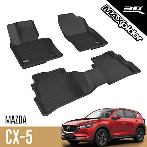 3D MAXpider Mazda CX-5 CX5 2017-2020 Passgenaue Allwetter Fußmatten Gummi Auto Matten Fussmatten Gummimatten, Kagu Serien (1. und 2. Reihe, Schwarz)