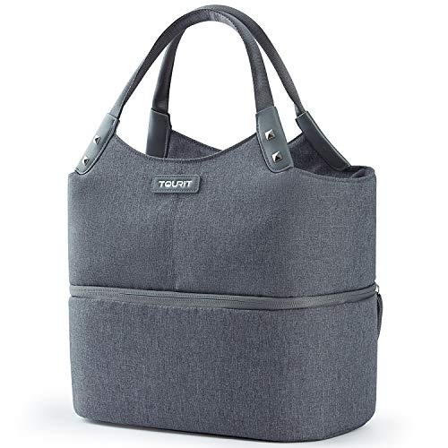 TOURIT Insulated Lunch Bag Double Deck Thermal Lunch Box for Women Men Large Cooler Tote Snack Organizer for Adults Work School Picnic Beach