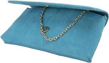 Anna Cecere Clutch ACX 424 Türkis Handtasche aus Eco-Wildleder