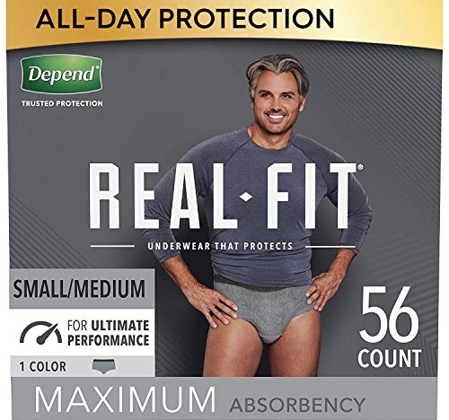 Depend Real Fit Incontinence Underwear for Men, Maximum Absorbency, Disposable, Small/Medium, Grey, 56 Count (Packaging May Vary)