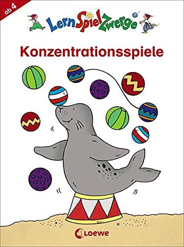 LernSpielZwerge - Konzentrationsspiele: Beschäftigungsblock zur Verbesserung der Aufmerksamkeit für Kinder ab 4 Jahre (LernSpielZwerge - Mal- und Rätselblocks)