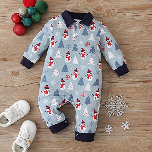 Wakeu Infant Baby Boy Girl Snowman Print Outfit First Christmas Clothes Pajamas One-Piece Romper Bodysuit Jumpsuit Light Blue