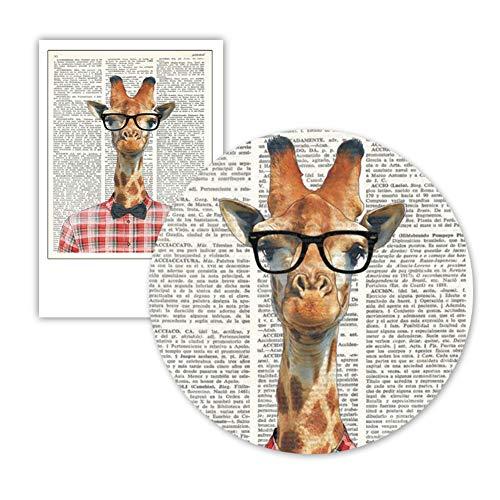 Giraffe Met Bril Woordenboek Art Posters En Prints Het Dragen Van Een Plaid Shirt Giraffe Dier Canvas Schilderij-40X50cm zonder lijst