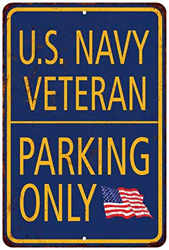 U.S. Navy Parking Only Sign Military Signs Vintage Décor Plaque Wall Art Rustic Tin 8 x 12 High Gloss Metal 208120062005