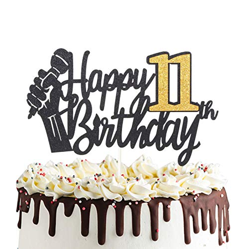 Happy 11th Birthday Cake Topper with Microphone Cheers to 11 Eleven Years Old Party Decoration Eleventh Birthday Cake Decor