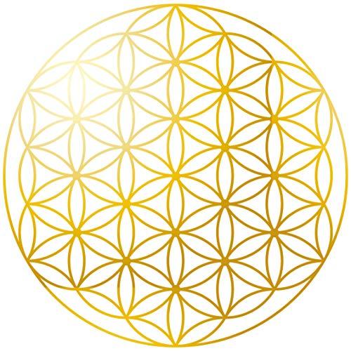 KuschelICH Blume des Lebens Aufkleber 50 Stück Gold - Premium Sticker 5 cm Ø- abriebfest - transparent - 1 Aussenring (5 cm)