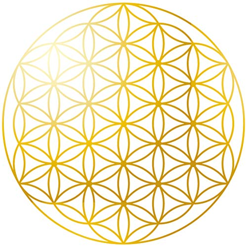 KuschelICH Blume des Lebens 50 Aufkleber - Premium Sticker 5 cm Durchmesser - abriebfeste Goldfolierung