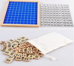 Z-COLOR Montessori Game Wooden Hundred Board Number Chart Number Grid Educational Game for Kids