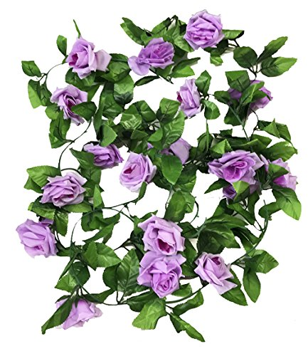 Crt Gucy 2 Pack 15 FT Fake Rose Vine Flowers Plants Artificial Flower for Home Hotel Office Wedding Party Garden Craft Art Décor, Light Purple