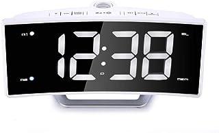 目覚まし時計投影の天井FMラジオスヌーズナイトライトバックライトラージデジタルディスプレイ2アラーム設定のUSB充電器ホーム寝室 Rxcyjlinzw (Color : A, Size : 17.1cm*4cm*8.7cm)