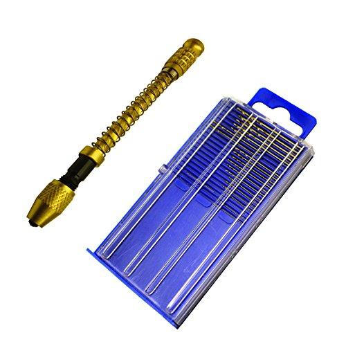 20pc Micro HSS Mini Twist Drills & Archimedes Swivel Head Pin Vice Watch Maker
