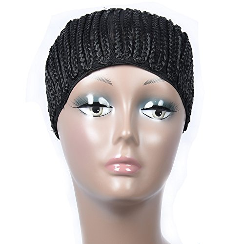 Puromi Crochet Braided Wig Cap Clip in Cornrow Wig Cap Adjustable Weaving Cap With Braids (Medium Size)
