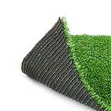 H-Bedding リアル人工芝 ロール マット芝丈10mm (幅1m×長さ5m) 耐久性強い 4種のMIX葉 (多サイズ選択可) ナチュラルグリーン 自然色 庭 インテリア クリスマス装飾 室内外