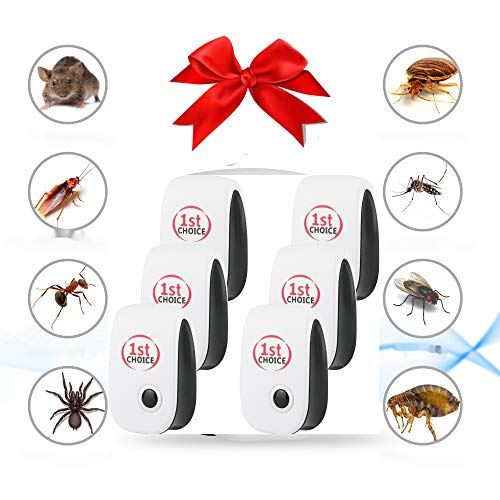 Ultrasonic Pest Repeller, Ultrasonic Pest Repellent Indoor Pest Control Electronic Plug in Insect Repellent for Home Office, Living Room, Kids Playroom, Bedroom, Kitchen, Garage, 6 Pack Plug-in