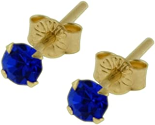 9K Solid Yellow Gold 3MM Round Crystal Stone Stud Earring Jewelry