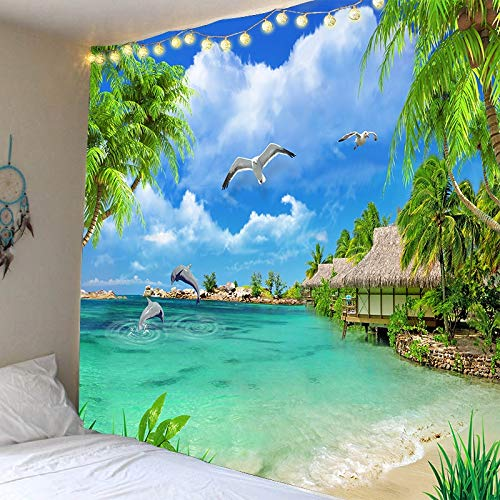 KHKJ Mar Naturaleza Tapiz Colgante de Pared Palmera Paisaje Hermosa Playa Dormitorio decoración de Pared Bohemia balcón Paisaje A5 200x150cm