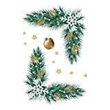 Glumes Christmas Wall Stickers Mobile Creative Decorative Wall Window Clings Christmas Tree Branch Bells Winter Colorful Holiday Decor Stickers for Toilet Refrigerator Cabinet Glass 7.8'' x11.8''