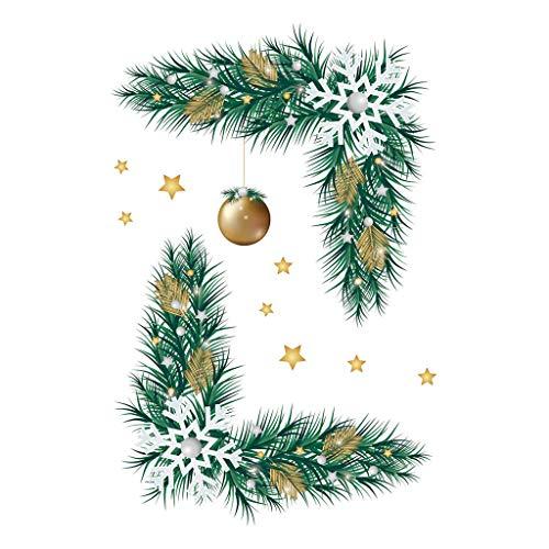 Sayla Fenster Aufkleber Geäst Glocken Weihnachten Wandaufkleber Weihnachtsdeko Merry Christmas Christmas Dekoration für Aufkleber Toilette Kühlschrank Schrank Glas