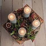 Adventskranz Gold Ø36cm Advent Kerzenständer Weihnachten Goldene Kerzenständer Stumpenkerzen Adventskranz Kerzenhalter ohne Dorn Weihnachtsdeko innen Tisch Weihnachtskranz Deko Adventsgesteck Edel - 4