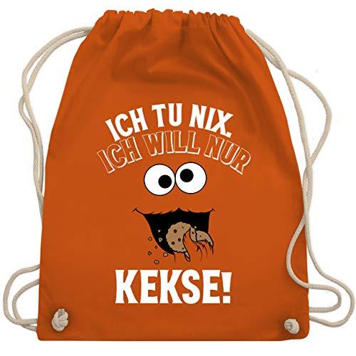 Shirtracer Karneval & Fasching - Ich tu nix. Ich will nur Kekse! - weiß/schwarz - Unisize - Orange - turnbeutel kekse - WM110 - Turnbeutel und Stoffbeutel aus Baumwolle