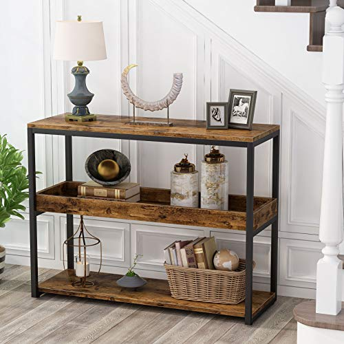 Tribesigns Console Table Sofa Table Entryway Table 3-Tier Industrial Console Table, Hallway Sofa Table, Narrow Side Table Entrance Console with 2-Shelves for allway, Entryway, Living Room