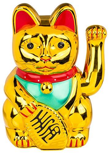 MIK Funshopping Gato de la suerte Maneki Neko (color dorado, 20 cm)