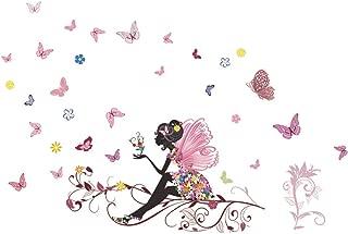 SWORNA Nature Series Flower Butterfly Girl Growing Branch Removable Vinyl DIY Wall Art Mural Sticker Decal Decor - Living Room/Play/Bedroom/ Hallway/Kindergarten/Home Office Nursery/School 32